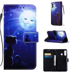 Cat and Moon Matte Leather Wallet Phone Case for Samsung Galaxy A60