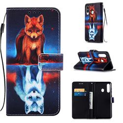 Water Fox Matte Leather Wallet Phone Case for Samsung Galaxy A60