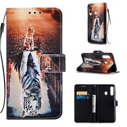 Cat and Tiger Matte Leather Wallet Phone Case for Samsung Galaxy A60