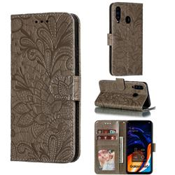 Intricate Embossing Lace Jasmine Flower Leather Wallet Case for Samsung Galaxy A60 - Gray