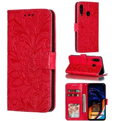Intricate Embossing Lace Jasmine Flower Leather Wallet Case for Samsung Galaxy A60 - Red