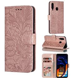 Intricate Embossing Lace Jasmine Flower Leather Wallet Case for Samsung Galaxy A60 - Rose Gold