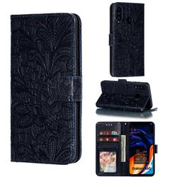 Intricate Embossing Lace Jasmine Flower Leather Wallet Case for Samsung Galaxy A60 - Dark Blue