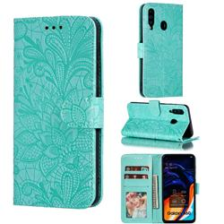 Intricate Embossing Lace Jasmine Flower Leather Wallet Case for Samsung Galaxy A60 - Green