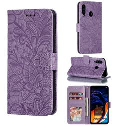 Intricate Embossing Lace Jasmine Flower Leather Wallet Case for Samsung Galaxy A60 - Purple