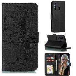 Intricate Embossing Lychee Feather Bird Leather Wallet Case for Samsung Galaxy A60 - Black