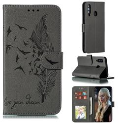 Intricate Embossing Lychee Feather Bird Leather Wallet Case for Samsung Galaxy A60 - Gray