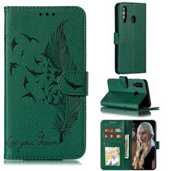 Intricate Embossing Lychee Feather Bird Leather Wallet Case for Samsung Galaxy A60 - Green