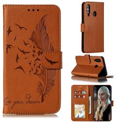 Intricate Embossing Lychee Feather Bird Leather Wallet Case for Samsung Galaxy A60 - Brown