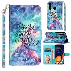 Blue Starry Sky 3D Leather Phone Holster Wallet Case for Samsung Galaxy A60