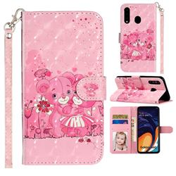 Pink Bear 3D Leather Phone Holster Wallet Case for Samsung Galaxy A60