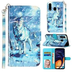 Snow Wolf 3D Leather Phone Holster Wallet Case for Samsung Galaxy A60