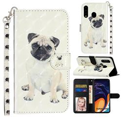 Pug Dog 3D Leather Phone Holster Wallet Case for Samsung Galaxy A60