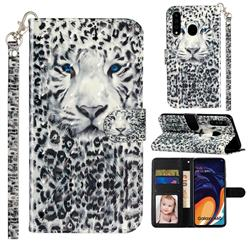 White Leopard 3D Leather Phone Holster Wallet Case for Samsung Galaxy A60