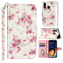 Rambler Rose Flower 3D Leather Phone Holster Wallet Case for Samsung Galaxy A60