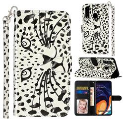 Leopard Panther 3D Leather Phone Holster Wallet Case for Samsung Galaxy A60