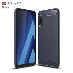 Luxury Carbon Fiber Brushed Wire Drawing Silicone TPU Back Cover for Samsung Galaxy A70 - Navy