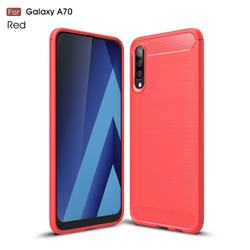 Luxury Carbon Fiber Brushed Wire Drawing Silicone TPU Back Cover for Samsung Galaxy A70 - Red