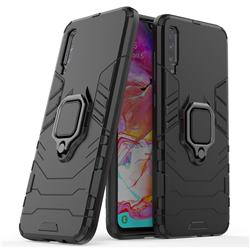 Black Panther Armor Metal Ring Grip Shockproof Dual Layer Rugged Hard Cover for Samsung Galaxy A70 - Black