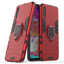 Black Panther Armor Metal Ring Grip Shockproof Dual Layer Rugged Hard Cover for Samsung Galaxy A70 - Red