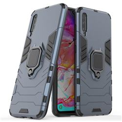 Black Panther Armor Metal Ring Grip Shockproof Dual Layer Rugged Hard Cover for Samsung Galaxy A70 - Blue