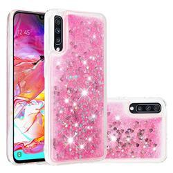 Dynamic Liquid Glitter Quicksand Sequins TPU Phone Case for Samsung Galaxy A70 - Rose