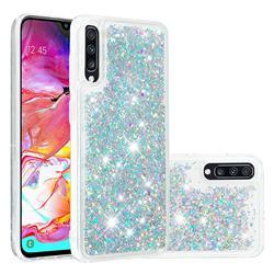 Dynamic Liquid Glitter Quicksand Sequins TPU Phone Case for Samsung Galaxy A70 - Silver