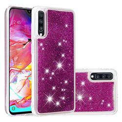Dynamic Liquid Glitter Quicksand Sequins TPU Phone Case for Samsung Galaxy A70 - Purple