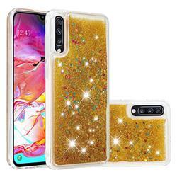 Dynamic Liquid Glitter Quicksand Sequins TPU Phone Case for Samsung Galaxy A70 - Golden