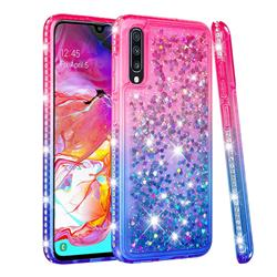 Diamond Frame Liquid Glitter Quicksand Sequins Phone Case for Samsung Galaxy A70 - Pink Blue