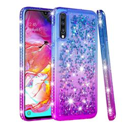 Diamond Frame Liquid Glitter Quicksand Sequins Phone Case for Samsung Galaxy A70 - Blue Purple
