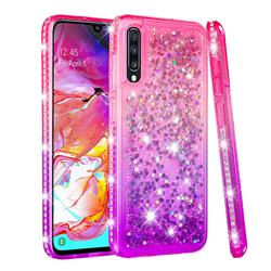 Diamond Frame Liquid Glitter Quicksand Sequins Phone Case for Samsung Galaxy A70 - Pink Purple