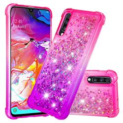 Rainbow Gradient Liquid Glitter Quicksand Sequins Phone Case for Samsung Galaxy A70 - Pink Purple