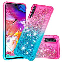 Rainbow Gradient Liquid Glitter Quicksand Sequins Phone Case for Samsung Galaxy A70 - Pink Blue