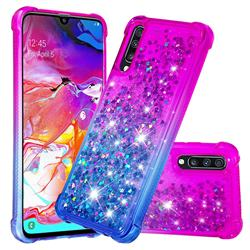 Rainbow Gradient Liquid Glitter Quicksand Sequins Phone Case for Samsung Galaxy A70 - Purple Blue