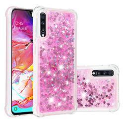 Dynamic Liquid Glitter Sand Quicksand TPU Case for Samsung Galaxy A70 - Pink Love Heart