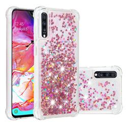 Dynamic Liquid Glitter Sand Quicksand TPU Case for Samsung Galaxy A70 - Rose Gold Love Heart