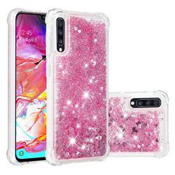 Dynamic Liquid Glitter Sand Quicksand Star TPU Case for Samsung Galaxy A70 - Diamond Rose