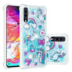 Fashion Unicorn Dynamic Liquid Glitter Sand Quicksand Star TPU Case for Samsung Galaxy A70