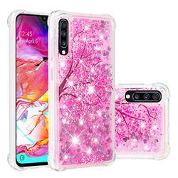 Pink Cherry Blossom Dynamic Liquid Glitter Sand Quicksand Star TPU Case for Samsung Galaxy A70