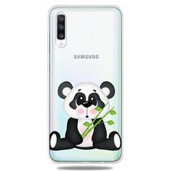 Bamboo Panda Clear Varnish Soft Phone Back Cover for Samsung Galaxy A70