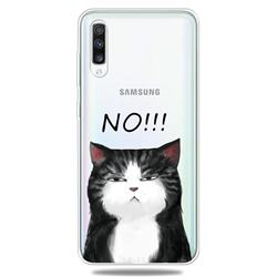 Cat Say No Clear Varnish Soft Phone Back Cover for Samsung Galaxy A70