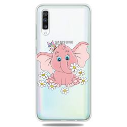Tiny Pink Elephant Clear Varnish Soft Phone Back Cover for Samsung Galaxy A70