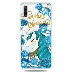 Blue Flower Unicorn Clear Varnish Soft Phone Back Cover for Samsung Galaxy A70