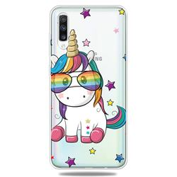 Glasses Unicorn Clear Varnish Soft Phone Back Cover for Samsung Galaxy A70
