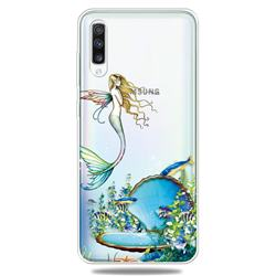 Mermaid Clear Varnish Soft Phone Back Cover for Samsung Galaxy A70
