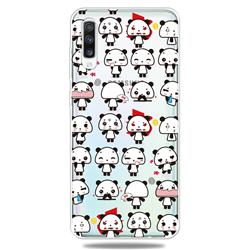 Mini Panda Clear Varnish Soft Phone Back Cover for Samsung Galaxy A70