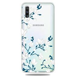 Magnolia Flower Clear Varnish Soft Phone Back Cover for Samsung Galaxy A70