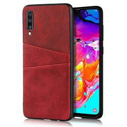 Simple Calf Card Slots Mobile Phone Back Cover for Samsung Galaxy A70 - Red