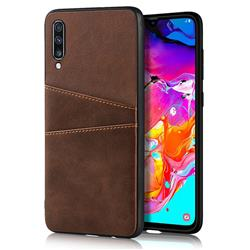 Simple Calf Card Slots Mobile Phone Back Cover for Samsung Galaxy A70 - Coffee